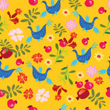 , festive pattern with pomegranates and flowers Royalty Free Stock Photography