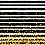 Festive pattern of random gold dots. On trendy seamless background of white and black stripes. Elegant pattern for background, textile, paper packaging and Royalty Free Stock Images