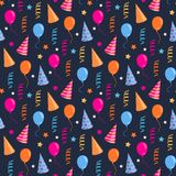 Festive pattern. Vector seamless Happy birthday,festive pattern with colorful party hat,air balloon,serpentine Royalty Free Stock Photos