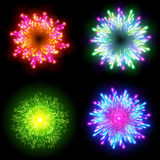 Festive patterned firework  bursting  in various shapes sparkling pictograms set  against black background abstract vector isolate. D illustration art Stock Images
