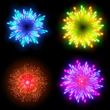 Festive patterned firework  bursting  in various shapes sparkling pictograms set  against black background abstract vector isolate. Festive patterned firework Royalty Free Stock Photography