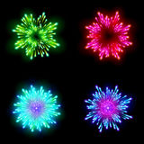 Festive patterned firework  bursting  in various shapes sparkling pictograms set  against black background abstract vector isolate Royalty Free Stock Images