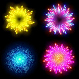 Festive patterned firework  bursting  in various shapes sparkling pictograms set  against black background abstract vector isolate. D illustration art Stock Photography
