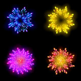 Festive patterned firework  bursting  in various shapes sparkling pictograms set  against black background abstract vector isolate. Festive patterned firework Stock Images