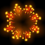 Festive patterned firework  bursting  in various shapes sparkling pictograms. Set  against black background abstract vector isolated illustration art Royalty Free Stock Photo