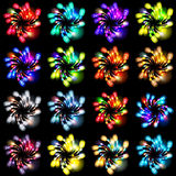 Festive patterned firework  bursting  in various shapes sparkling pictograms. Set  against black background abstract vector isolated illustration art Royalty Free Stock Images