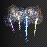Festive patterned firework  bursting  in various shapes sparkling pictograms set  against black background abstract Royalty Free Stock Image