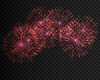 Festive patterned firework  bursting  in various shapes sparkling pictograms set  against black background abstract Royalty Free Stock Images