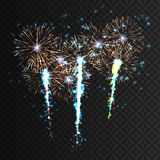 Festive patterned firework explosion in various shapes sparkling pictograms collections against isolated black Royalty Free Stock Photo
