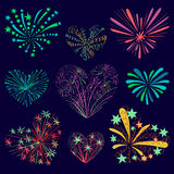 Festive patterned firework in the shape of a heart. Sparkling pictograms. Abstract vector. Isolated illustration. Love firework Stock Images