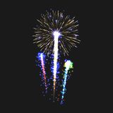 Festive patterned fireworks isolated bursting in various shapes sparkling pictograms set. Fireworks night. Graphic illustration Stock Photo