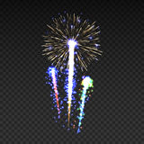 Festive patterned fireworks isolated bursting in various shapes sparkling pictograms set. Fireworks night Vector illustration Royalty Free Stock Images