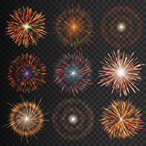 Festive patterned fireworks isolated bursting in various shapes sparkling pictograms set. Festive patterned transparent fireworks isolated bursting in various Royalty Free Stock Image