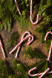 Festive Peppermint Candy Canes Stock Photos