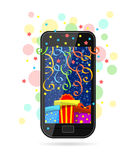 Festive phone. Modern mobile phone with picture of gifts on screen, colorful ribbons and stars Royalty Free Stock Photos