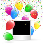 Festive photo frame with multicolored inflatable air balls and c Stock Photography