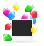 Festive photo frame with multicolored inflatable air balls isola Royalty Free Stock Photos