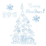 Festive pine. Happy new year 2015, Mary Christmas. Hand drawing Stock Image