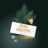 Festive Pine leaves and Decorations. Festive Pine leaves and Decor.Christmas tree leaves with a label sign and seasonal decorations - vector illustration Stock Photography