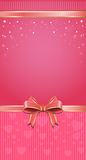 Festive pink background with ribbon and bow. Elegant festive template for Birthday, Valentines Day, Womens Day, holidays and other romantic events . Vector Stock Photos
