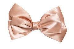 Festive pink bow made of ribbon Stock Photo