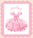 Festive pink dress. Vintage label with  festive pink dress Royalty Free Stock Images