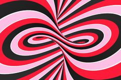 Festive pink, red and black spiral tunnel. Striped twisted lollipop optical illusion. Abstract background. 3D render. Sweet candy caramel wallpaper vector illustration