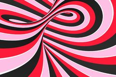 Festive pink, red and black spiral tunnel. Striped twisted lollipop optical illusion. Abstract background. 3D render. Sweet candy caramel wallpaper royalty free illustration