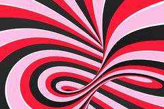 Festive pink, red and black spiral tunnel. Striped twisted lollipop optical illusion. Abstract background. 3D render. Sweet candy caramel wallpaper stock illustration