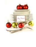 Festive place card holders with plates and cutlery Royalty Free Stock Photos