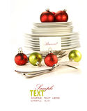 Festive place card holders with plates and cutlery Stock Image
