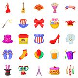 Festive place icons set, cartoon style. Festive place icons set. Cartoon set of 25 festive place vector icons for web isolated on white background Royalty Free Stock Photos