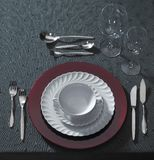 Festive place setting and candlelight Stock Image