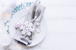 Festive place setting for christmas dinner Royalty Free Stock Photography