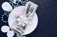 Festive place setting for christmas dinner Royalty Free Stock Photo