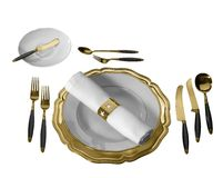 Festive place setting. Studio photography of a festive golden place setting in white back, seen from above stock image