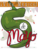 Festive Poblano like Number Five for Mexican Cinco de Mayo, Vector Illustration. Festive poster with giant chili pepper like number five with confetti shower Royalty Free Stock Photo