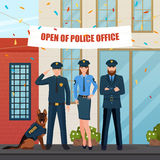 Festive Police People Composition. Flat characters of policemen with police dog in front of office with festive decorations and confetti vector illustration Royalty Free Stock Image