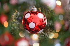 Festive polka dot Christmas bauble Stock Images