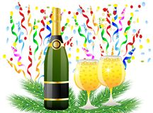 Festive postal with a bottle, glasses of champagne and serpentin Royalty Free Stock Photo
