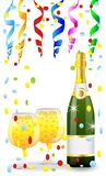 Festive postal with a bottle, glasses of champagne and serpentin. E,vector  illustration Royalty Free Stock Photos