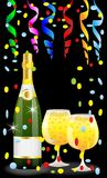 Festive postal with a bottle, glasses of champagne and serpentin. E,vector  illustration Stock Photography