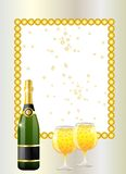 Festive postal with a bottle and glasses of champagne Royalty Free Stock Images