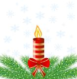 Festive postal with a candle and green branches Royalty Free Stock Photo