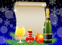 Festive postal with champagne and christmas decoration Stock Photography