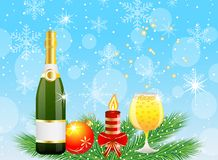 Festive postal with champagne and christmas decoration. Vector illustration Royalty Free Stock Photo