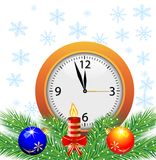 Festive postal with a clock, candle and green branches with toys. Vector illustration Royalty Free Stock Photos