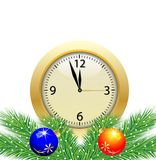 Festive postal with a clock and green branches with toys. Vector illustration Royalty Free Stock Photo