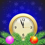 Festive postal with a clock and green branches with toys. Vector illustration Royalty Free Stock Images