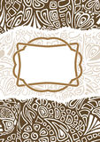 A festive postal is with a tender decorative pattern. A beautiful brown and white postal for your greeting stock illustration